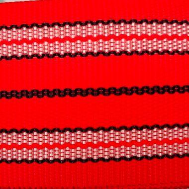 Popruh červené pruhy 6 cm šíře