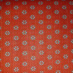 Bavlna květy na oranžové č.17 cena za 1 metr