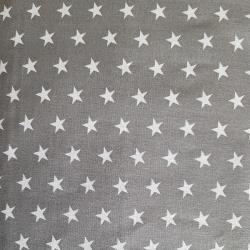 Bílé hvězdičky na šedé bavlna č.21