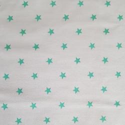 Zelené hvězdičky na bílé bavlna č.22