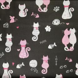 Kočky na černé bavlna č.D29