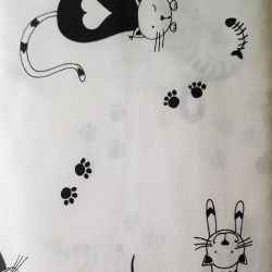 Kočky černobílá bavlna č.104 cena za 1 metr