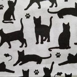 Kočky na bílé bavlna č.106 cena za 1 metr