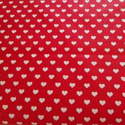 Srdíčka na červené bavlna č.111 cena za 1 metr