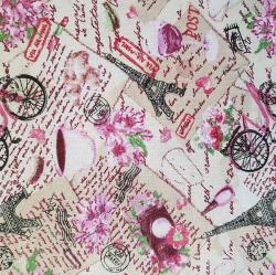 Paříž růžová bavlna č.114 cena za 1 metr