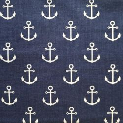 Bavlna kotvy na modré č.121 cena za 1 metr