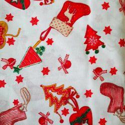Bavlna vánoční ponožky č.V19 cena za 1 metr