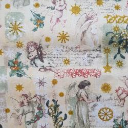 Bavlna béžové vánoce č.V25 cena za 1 metr