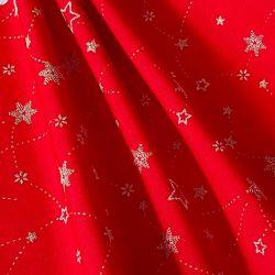 Bavlna vánoční hvězdy na červené č.V23 cena za 1 metr