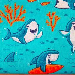 Žraloci modří bavlna č.D72 1 metr