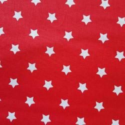 Bavlna bílé hvězdy na červené č.3